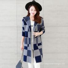Mulheres moda viscose malha verificado padrão casaco de lã com capuz (yky2059)