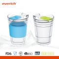 Рекламные 300 мл оптовые стеклянные чашки с силиконовым рукавом
