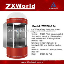 ZXC08-724 Vidro completo Elevador panorâmico de passageiros