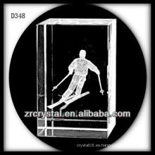 Esquí de superficie 3D láser K9 dentro de rectángulo de cristal