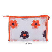 Saco cosmético de PVC transparente impresso Lady Fashion Flower (YKY7533-1)