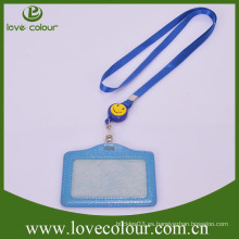Soporte de tarjeta de identificación de cuero personalizado para estudiante con cordón