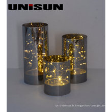 Décoration de Noël Verre Artisanat en verre avec cordon en cuivre LED pour éclairage mural (17008)