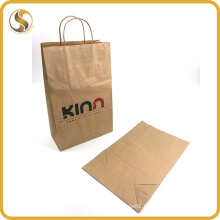 Eco-Friendly Brown Kraft Food Packing Paper Bag with Twist Handle