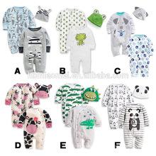 Infant 2 pcs set baby romper printed cartoon baby romper set with hat