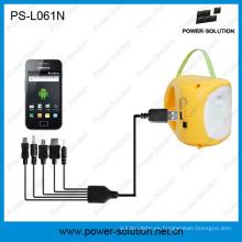 Lámpara solar portable de la batería LED de litio 3.7V / 2600mAh LED con la carga del teléfono