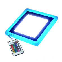 Hot Sale 6W 9W 18W 24W RGB LED Square Panel Light Dimmable RGB Double Color 6W+3W