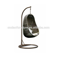 Outdoor rattan hanging chair with stand