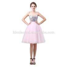 Robe de soirée courte de taille haute robes de graduation de Mesdames de cristaux de l'épaule sans manches robe de mariée de mode de l'union