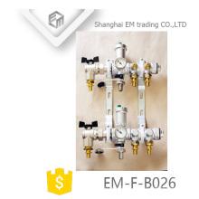 EM-F-B026 Nickel plated 2-way 6 hole brass manifold