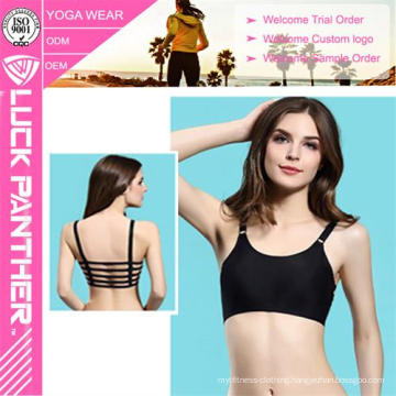 Hot Sale Sexy Fashion Ladies Solid Black Color Sport Bra