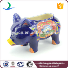YSfp0004 Little colorful hand print ceramic pig flower pot for home