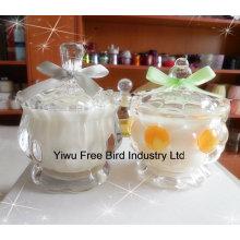 Mode-weiße duftende Soja-Wachs-Kerze im Glasgefäß