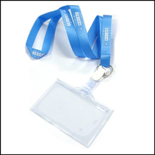 Lanière faite sur commande de support de bobine de badge nominatif / carte d'identité de vinyle de polyester pour le badge d'identification (NLC012)