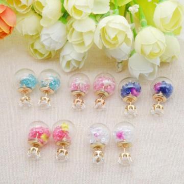 Позолоченные белые кристаллы с бриллиантами, разноцветные бусины с дрейфом, стеклянный шар, двусторонние серьги-гвоздики с пирсингом