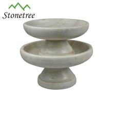 Neuer weißer runder Fruchtgroßhandelsplatter-Steinmarmorkuchen steht