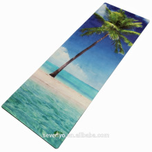 fashion eco-friendly sea view tree printing pattern flower yoga mat towel YT-007