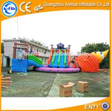 Parc gonflable pour bateaux commerciaux combiné, Grand toboggan gonflable pour piscine, toboggans gonflables en Chine