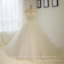 Vea por detrás el vestido nupcial de los vestidos de boda del cordón del vestido de bola de la manga del casquillo de Alibaba vestidos de novia con el amor 2016 LWB03