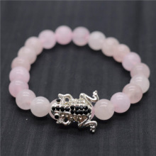 Rose Quartz 8MM Round Beads Stretch Gemstone Bracelet with Diamante alloy Frog Piece