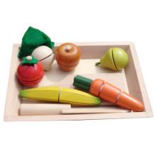 Lernressourcen vorgeben Spiel Essen Hölzernes scheibenförmiges Klettverschluss Spielzeug