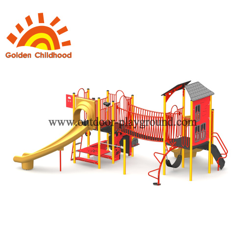 Red Play Tower Outdoor Playground Equipment en venta