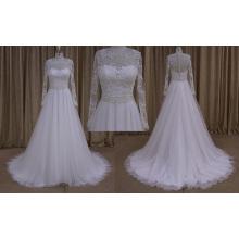 2016 novo modelo a linha de vestido de noiva vestido de noiva de manga comprida