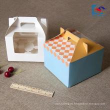 Pequeno bonito design personalizado arte papel caixa de bolo alça com janela