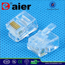 RJ11 Plug de teléfono Modular Jack 6P6C Crystal Plug
