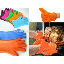 Horno de cocinar de encargo respetuoso del medio ambiente que no se pega el guante del Bbq del silicón de la hornada / el guante del bbq del horno de la parrilla del silicón / el mitón del horno