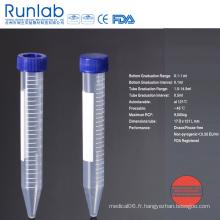 Tubes à centrifuger à fond conique de 15 ml approuvés par la FDA et la CE avec graduation imprimée en rack en mousse