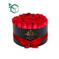 China Supplier Round New Premium Black Foil Stamping Customized Cardboard Flower Tube Gift Box With Handle Ribbon