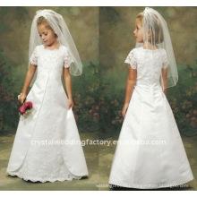 Appliqued short sleeve lace flower girl dress CWFaf1755