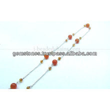Beautiful Silver Smooth Big and Small Round Beaded Chain, Wholesale Gemstone Bezel Jewelry