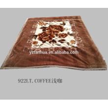 Color marrón impreso visión suave manta para cama de invierno tiro