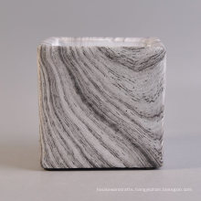 Square Concrete Candle Container with Hydrographics Transfer Printing