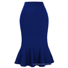 Kate Kasin Occident Women's Fashion OL Causal Blue Mermaid Hips-Wrapped Pencil Skirt KK000241-3