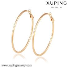 92417 Xuping Jewelry aretes de aro simples y grandes con 18 K chapado en oro