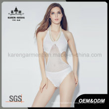 Ladies Sexy Beaded Neck Knitted One Piece Swimsuit