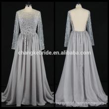 Real Photos Long Sleeve chiffon Robe de soirée strass Backless Chiffon Evening Gown