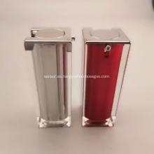 Empaquetado plástico plástico de la botella de la botella de la loción del cuadrado de plata de la calidad