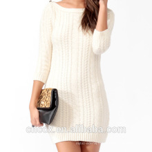 16STC5101 câble tricot fille robe en cachemire