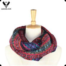 Lady′s Fashionable Custom Jacquard Pattern Multicolor Loop Scarf