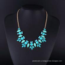 Золото покрытием бирюзовый камень ожерелье для женщин