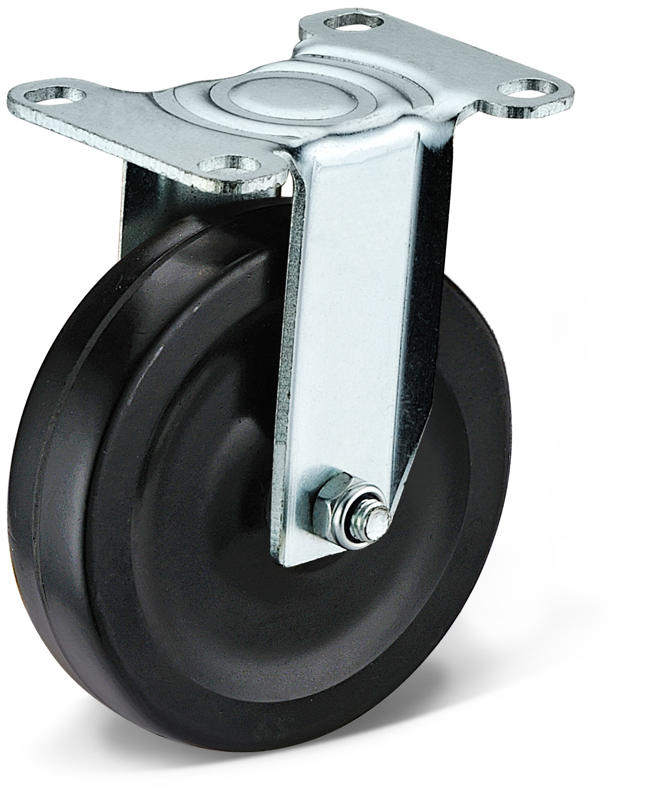 Black Rubber Fixed Casters