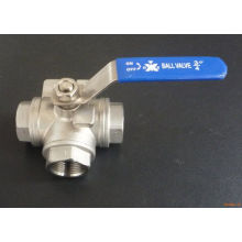 Stainless Three Way Ball Valve with Thread End (Q14/Q15)