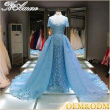 V-cuello rizado Apliques de encaje Sequin hielo Blue Alibaba vestido de novia