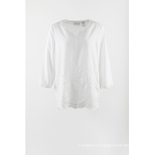 Blusa manga 3/4 bordado gasa blanca