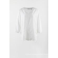 White chiffon embroidery 3/4 sleeve blouse