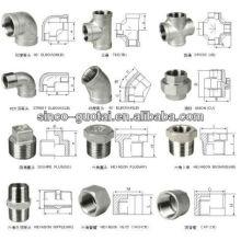 Raccord de tuyau de bâti d'acier inoxydable / coude, pièce en t, réducteur, chapeau